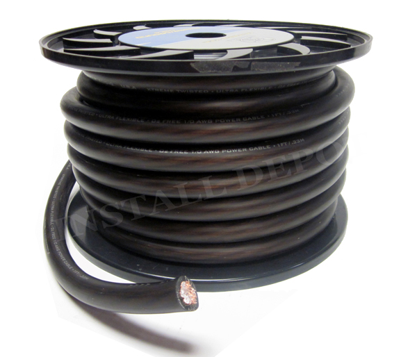 50 FT - PREMIUM 0 GAUGE BLACK POWER WIRE GROUND CABLE 1/0 AWG CAR ...